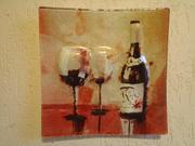 Картина на стекле бокалы с вином