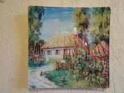 Картины на стекле Мальвы
